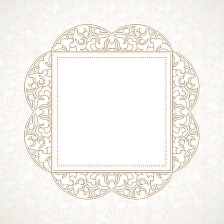 floral border: Vector decorative line art frame for design template. Elegant element for design in Eastern style, place for text. Beige outline floral border. Lace illustration for invitations and greeting cards. Illustration