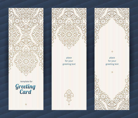 for design: Vintage ornate cards in oriental style. Beige Eastern floral decor. Template vintage frame for greeting card and wedding invitation. Ornate vector border and place for your text. Illustration