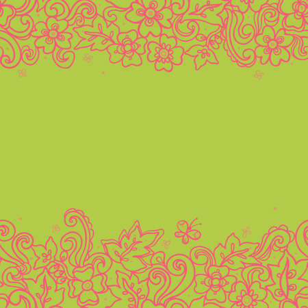 summer border: Fine summer vector border with butterfly. Line art floral edging on green background. Pink outline frieze. Decorative element for design, place for text. Lace pattern for invitations, greeting cards.