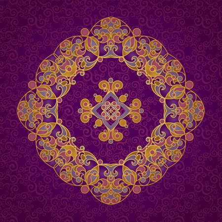 vignettes: Vector vintage pattern in Eastern style. Elegant element for design. Lace floral illustration for wedding invitations, greeting cards, Valentines cards. Traditional golden decor. Mandala.
