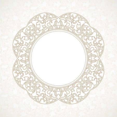 vintage lace: Vector decorative line art frame for design template. Elegant element for design in Eastern style, place for text. Beige outline floral border. Lace illustration for invitations and greeting cards. Illustration
