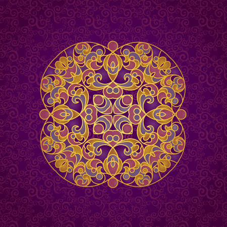 islamic pattern: Vector vintage pattern in Eastern style. Elegant element for design. Lace floral illustration for wedding invitations, greeting cards, Valentines cards. Traditional golden decor. Mandala.
