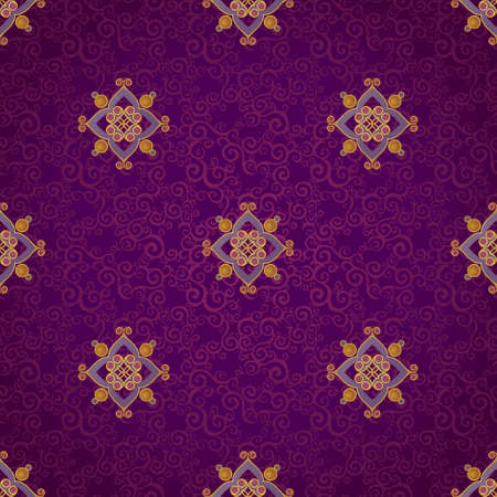 vignettes: Fine seamless vector pattern with ornate decor. Golden line art decor on purple background. Exquisite wallpaper in Eastern style, vintage backdrop, ornate texture. Filigree romantic pattern fill.