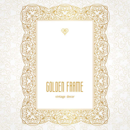 Vector decorative line art frame for design template. Elegant element for design in Eastern style, place for text. Golden outline floral border. Lace illustration for invitations and greeting cards.