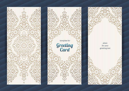 background frame: Vintage ornate cards in oriental style. Beige Eastern floral decor. Template vintage frame for greeting card and wedding invitation. Ornate vector border and place for your text. Illustration