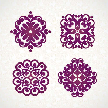 for design: Set of refined vector monogram for design template. Elegant element for logo design, place for text. Ornamental pattern for wedding invitations and greeting cards. Traditional vintage floral decor.
