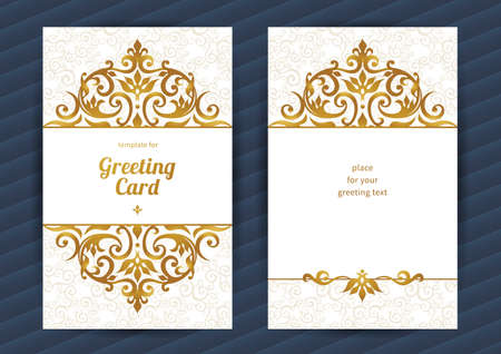islamic pattern: Vintage ornate cards in oriental style. Golden Eastern floral decor. Template vintage frame for birthday and greeting card, wedding invitation. Ornate vector border. Easy to use, layered.