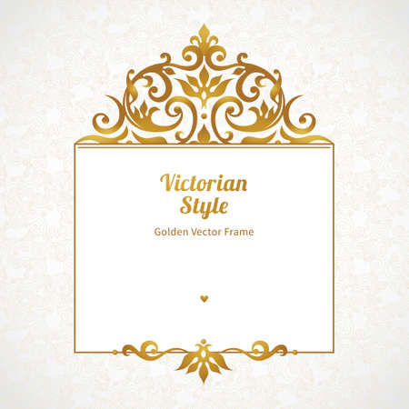 golden border: Vector decorative frame in Victorian style. Elegant element for design template, place for text. Golden floral border. Lace decor for birthday and greeting card, wedding invitation, certificate.