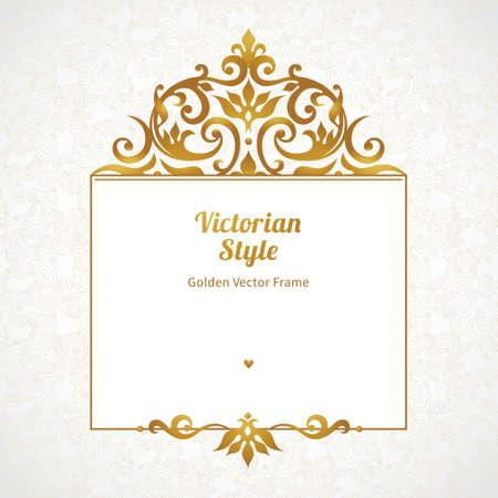 friso: Vector marco decorativo en estilo victoriano. Elemento de plantilla de diseño elegante, el lugar de texto. Frontera floral de oro. Decoración de encaje para el cumpleaños y tarjeta de felicitación, invitación de boda, certificado.