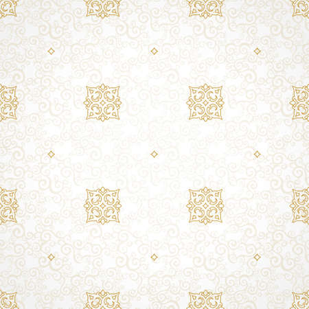 seamless patterns: Vector seamless pattern with golden ornament. Vintage element for design in Victorian style. Ornamental lace tracery. Ornate floral decor for wallpaper. Endless texture. Light pattern fill.
