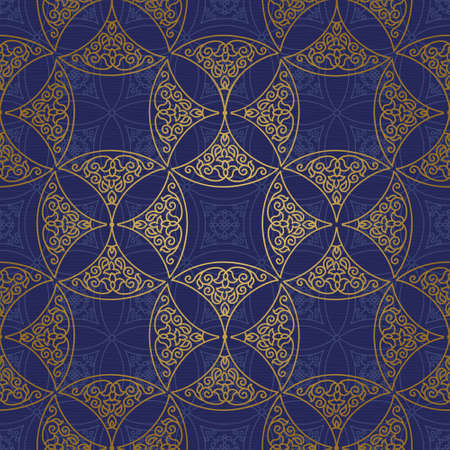 tracery: Vector seamless pattern with golden ornament. Vintage element for design in Eastern style. Ornamental lace tracery. Ornate floral decor for wallpaper. Endless texture. Bright pattern fill.