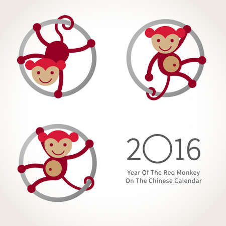2016 年のシンボル。赤笑顔猿サークルにしがみつきます。フラット スタイルで新年のデザインのベクター装飾。中国のカレンダーで猿の 2016 年のイ