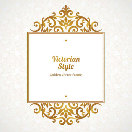 golden frame: Vector decorative frame in Victorian style. Elegant element for design template, place for text. Golden floral border. Lace decor for birthday and greeting card, wedding invitation, certificate.