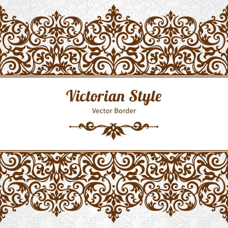 victorian pattern: Vector ornate seamless border in Victorian style. Gorgeous element for design, place for text. Ornamental vintage pattern for wedding invitations, birthday and greeting cards.Traditional contrast decor.