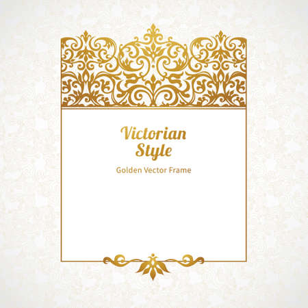 victorian frame: Vector decorative frame in Victorian style. Elegant element for design template, place for text. Golden floral border. Lace decor for birthday and greeting card, wedding invitation, certificate.