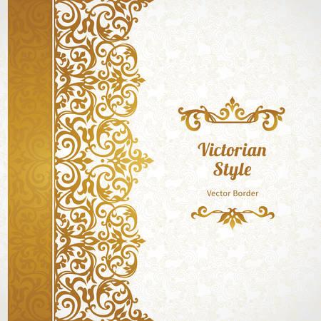 Vecteur orné frontière perméable dans un style victorien. Superbe élément pour la conception, place pour le texte. Vintage pattern d'ornement pour les invitations de mariage, d'anniversaire et saluer décor or cards.Traditional.