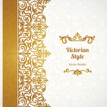 motif floral: Vector ornate seamless border in Victorian style. Gorgeous element for design, place for text. Ornamental vintage pattern for wedding invitations, birthday and greeting cards.Traditional golden decor. Illustration