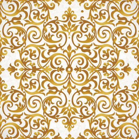 baroque: Modelo inconsútil del vector con el ornamento de oro. Elemento para el diseño vintage en estilo victoriano. Tracería ornamental de encaje. Decoración floral adornado por un fondo de pantalla. Textura sin fin. Relleno de patrón brillante. Vectores