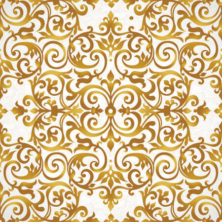 Vector seamless pattern with golden ornament. Vintage element for design in Victorian style. Ornamental lace tracery. Ornate floral decor for wallpaper. Endless texture. Bright pattern fill.