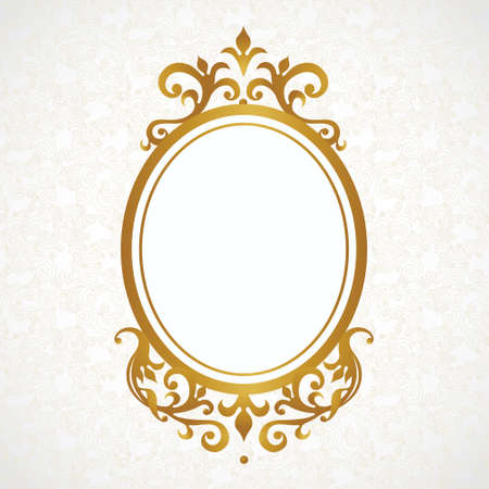 golden frame: Vector decorative frame in Victorian style. Elegant element for design, place for text. Golden floral border. Lace decor for wedding invitations, valentines, birthday and greeting cards. Illustration
