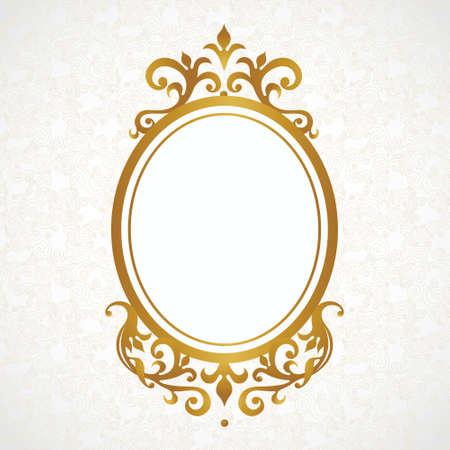 ovalo: Vector marco decorativo en estilo victoriano. Elemento para el diseño elegante, el lugar de texto. Frontera floral de oro. Decoración de encaje para las invitaciones de boda, San Valentín, cumpleaños y tarjetas de felicitación. Vectores