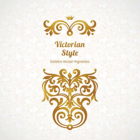 arabesco: Conjunto de vectores de adornos de la vendimia en estilo victoriano. Adornado elemento para el diseño y el lugar de texto. Patrones de encaje decorativas para las invitaciones de boda y tarjetas de felicitación. Vectores