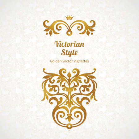 gold swirl: Vector set of vintage ornaments in Victorian style. Ornate element for design and place for text. Ornamental lace patterns for wedding invitations and greeting cards. Illustration