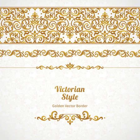 빅토리아 스타일 벡터 화려한 원활한 테두리. 디자인에 화려한 요소, 텍스트에 대 한 장소. 결혼식 초대장, 생일 및 cards.Traditional 황금 장식 인사말 장