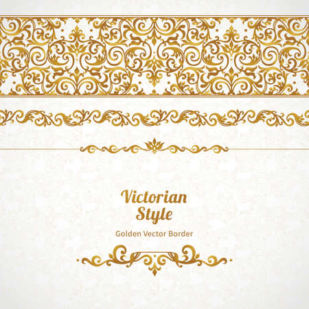 frieze: Vector ornate seamless border in Victorian style. Gorgeous element for design, place for text. Ornamental vintage pattern for wedding invitations, birthday and greeting cards.Traditional golden decor. Illustration