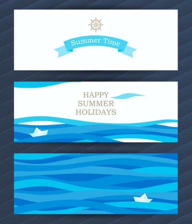 Bright Zomervakantie kaarten met zee-elementen. Zee patroon met document boot en golven. Plaats voor uw tekst. Template frame ontwerp voor de banner, aanplakbiljet, uitnodiging. Blauwe vector achtergrond. Stock Illustratie