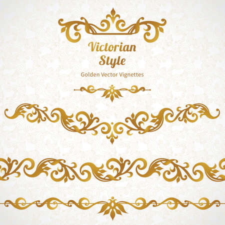 Vector set of ornate borders and vignettes in Victorian style. Gorgeous element for design, place for text. Ornamental vintage pattern for wedding invitations, birthday and greeting cards.Traditional golden decor. Иллюстрация