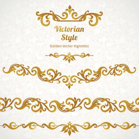 Vector set van sierlijke grenzen en vignetten in Victoriaanse stijl. Prachtige element voor ontwerp, plaats voor tekst. Sier vintage patroon voor bruiloft uitnodigingen, verjaardag en groet cards.Traditional gouden decor.