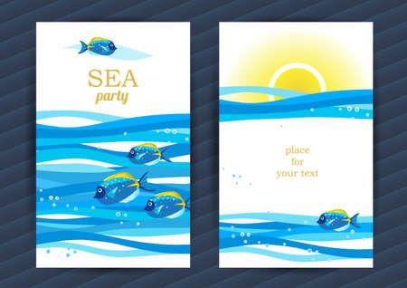 바다 요소와 밝은 여름 휴일 카드. 물고기와 파도와 바다 패턴. 당신의 텍스트를 놓습니다. 배너, 플래 카드, 초대장 템플릿 프레임 디자인입니다. 해양 일러스트