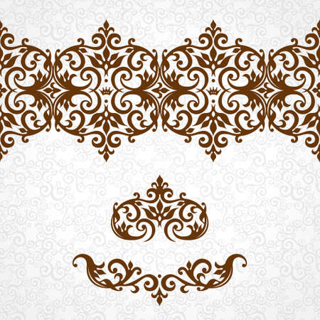 borders abstract: Vector ornate seamless border in Victorian style. Gorgeous element for design, place for text. Ornamental vintage pattern for wedding invitations, birthday and greeting cards.Traditional contrast decor.