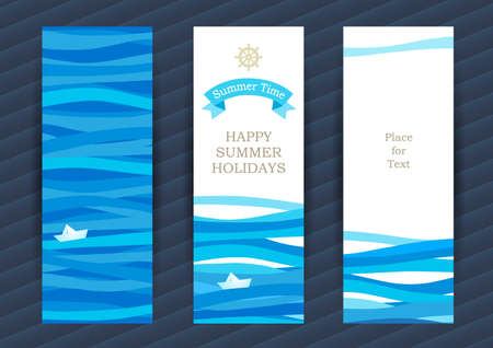 Bright Summer Holidays cards with sea elements. Sea pattern with paper boat and waves. Place for your text. Template frame design for banner, placard, invitation. Blue vector background. Ilustração