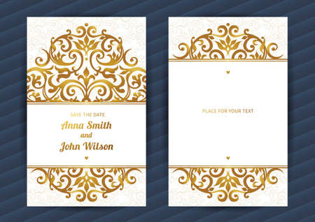 wedding decor: Vintage ornate cards in oriental style. Golden Eastern floral decor. Template vintage frame for birthday and greeting card, wedding invitation. Ornate vector border. Easy to use, layered.