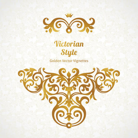 golden: Vector lace pattern in Victorian style on scroll work background. Ornate element for design. Place for text. Ornament for wedding invitations, birthday and greeting cards. Golden decor. Illustration