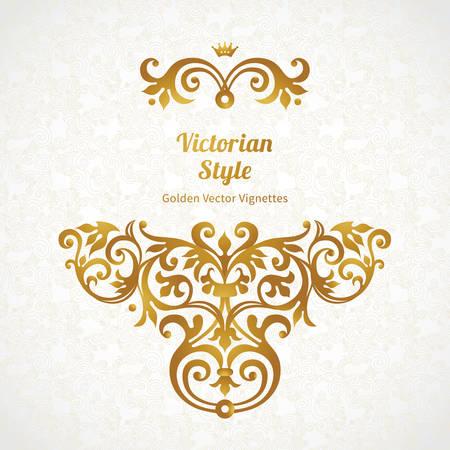 golden: Vector patrón de encaje de estilo victoriano en el fondo el trabajo de desplazamiento. Adornado elemento para el diseño. Lugar para el texto. Ornamento para invitaciones de boda, cumpleaños y tarjetas de felicitación. Decoración de oro.