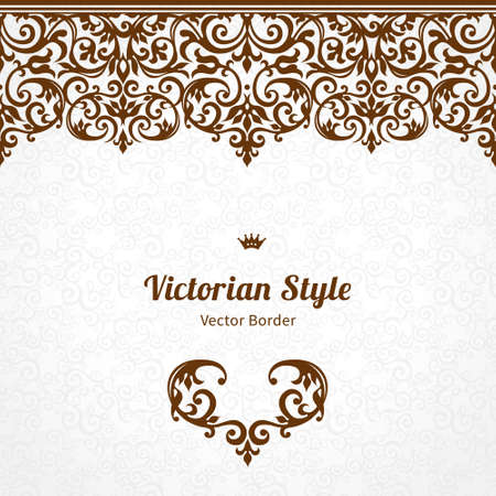 seamless floral pattern: Vector ornate seamless border in Victorian style. Gorgeous element for design, place for text. Ornamental vintage pattern for wedding invitations, birthday and greeting cards.Traditional contrast decor.