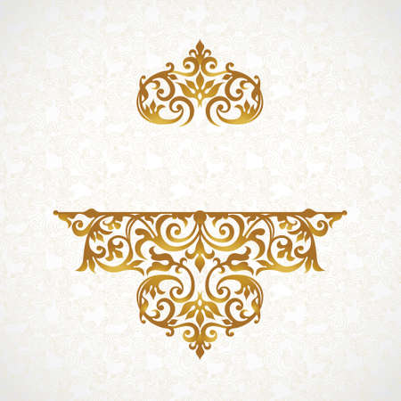style: Vector lace pattern in Victorian style on scroll work background. Ornate element for design. Place for text. Ornament for wedding invitations, birthday and greeting cards. Golden decor. Illustration