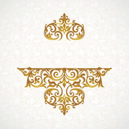arabesco: Vector patrón de encaje de estilo victoriano en el fondo el trabajo de desplazamiento. Adornado elemento para el diseño. Lugar para el texto. Ornamento para invitaciones de boda, cumpleaños y tarjetas de felicitación. Decoración de oro.