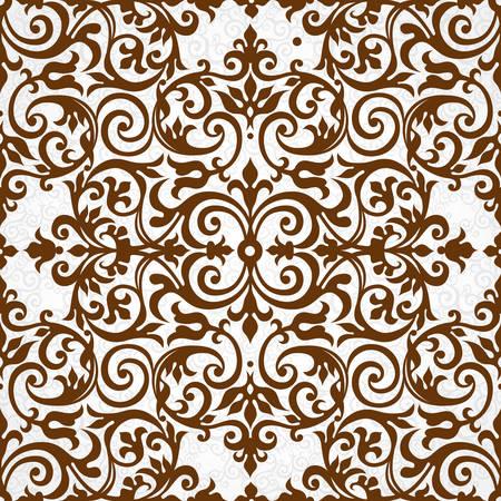 elementos: Modelo inconsútil del vector con el ornamento marrón. Elemento para el diseño vintage en estilo victoriano. Tracería ornamental de encaje. Decoración floral adornado por un fondo de pantalla. Textura sin fin. Contraste patrón de relleno.
