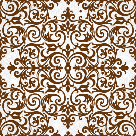 seamless damask: Vector seamless pattern with brown ornament. Vintage element for design in Victorian style. Ornamental lace tracery. Ornate floral decor for wallpaper. Endless texture. Contrast pattern fill. Illustration