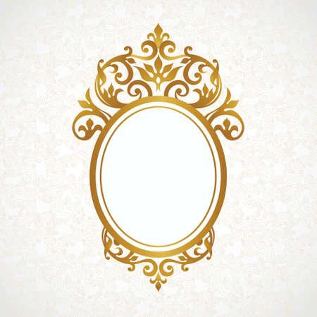 ベクトル ビクトリア朝スタイルの装飾的なフレーム。デザイン、テキストのための場所のエレガントな要素です。黄金の花の境界線。結婚式招待状  イラスト・ベクター素材
