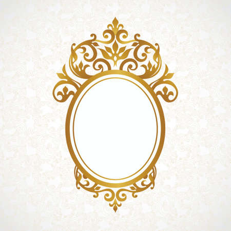 Vector decorative frame in Victorian style. Elegant element for design, place for text. Golden floral border. Lace decor for wedding invitations, valentines, birthday and greeting cards. Ilustração
