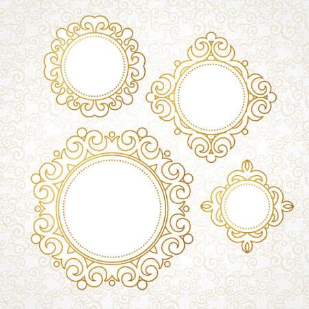 arabesco: Conjunto de vector de marcos decorativos de estilo victoriano. Elemento para el diseño elegante, el lugar de texto. Frontera floral de oro. Decoración de encaje para las invitaciones de boda, San Valentín, cumpleaños y tarjetas de felicitación.