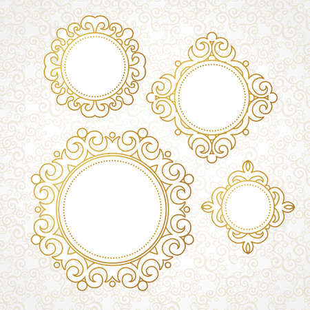 arabesque: Set of vector decorative frames in Victorian style. Elegant element for design, place for text. Golden floral border. Lace decor for wedding invitations, valentines, birthday and greeting cards.