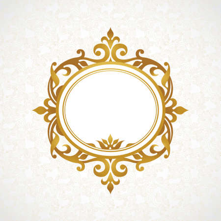 Vector decorative frame in Victorian style. Elegant element for design, place for text. Golden  floral border. Lace decor for wedding invitations, valentines and greeting cards.