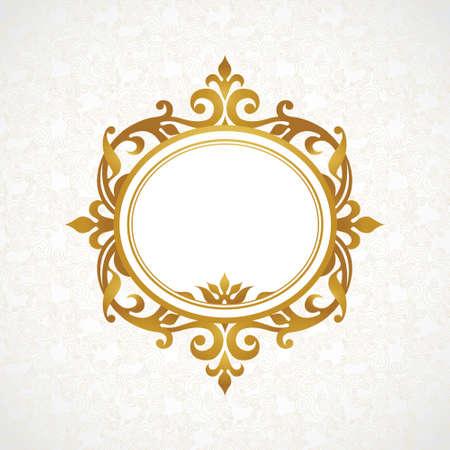 Vector decoratieve frame in Victoriaanse stijl. Elegant element voor ontwerp, plaats voor tekst. Gouden bloemen grens. Lace decor voor bruiloft uitnodigingen, valentijnskaarten en wenskaarten.