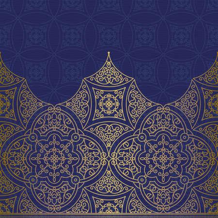 Vecteur orné frontière perméable au style oriental. Superbe élément pour la conception, place pour le texte. Vintage pattern d'ornement pour les invitations de mariage et cartes de souhaits. Décor traditionnel d'or. Banque d'images - 43920214